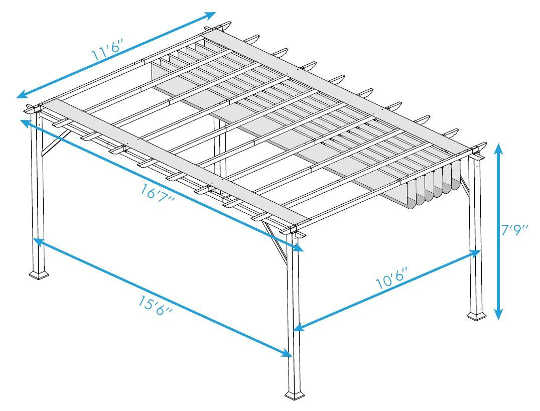 Paragon Outdoor 11X16 Pergola dimensions